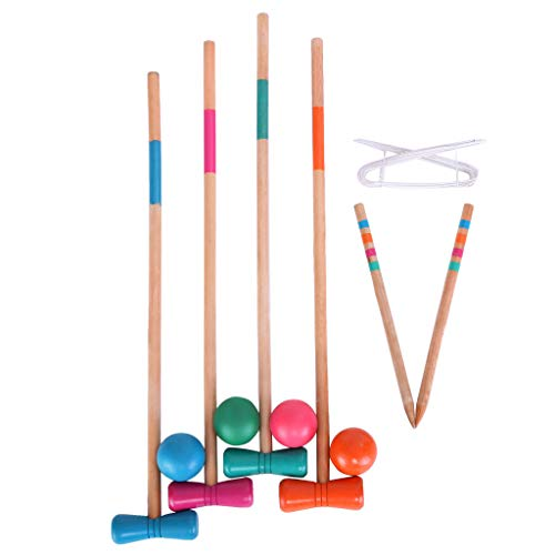 Fine Croquet Set with Wooden Mallets, Colored Balls, Sturdy Carrying Bag for Adults &Kids, Perfect for Lawn,Backyard,Park and More (As Shown)