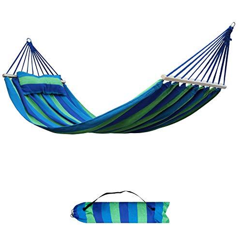 AXT SHADE Amaca da Esterno in Cotone 220 * 120 cm, Carico 200 kg, con Cuscino dello Stesso Colore, per Giardino, Cortile, Campeggio, Terrazza sulla Spiaggia-Striscia Blu e Verde
