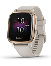 Garmin Venu Sq Smartwatch, gezondheid, geïntegreerde GPS, multisport, cardio, pols, muziekgeheugen, Garmin Pay, lange looptijd, licht zand/roségoud, wijzerplaat 40 mm