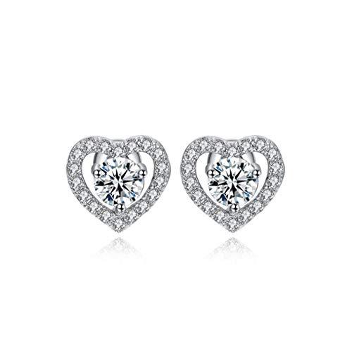 Yhhzw Pendientes Románticos De Niña En Forma De Corazón Con Piedra De Circonita Cúbica Brillante Pendientes De Mujer Pequeños Y Sencillos
