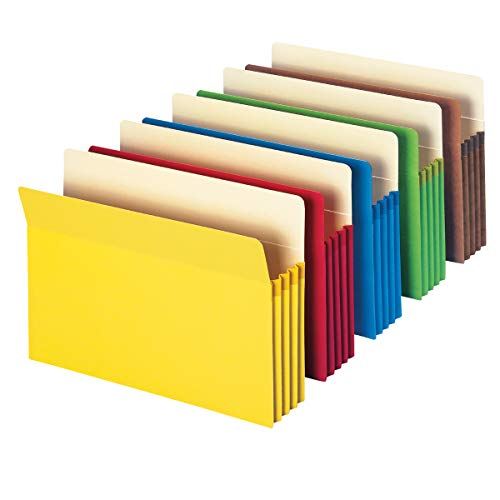 Smead File Pocket, Straight-Cut Tab, 3-1/2' Expansion, Letter Size, Assorted Colors, 5 per Pack (73892)