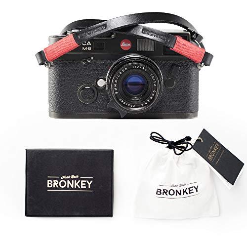 Bronkey Tokyo 101 (120 cm) - Correa para Cámara compacta - Cuello Hombro Vintage Retro cámara Piel Cuero Original Enganche Universal para Sony, Fuji, Leica, Pentax, Etc.