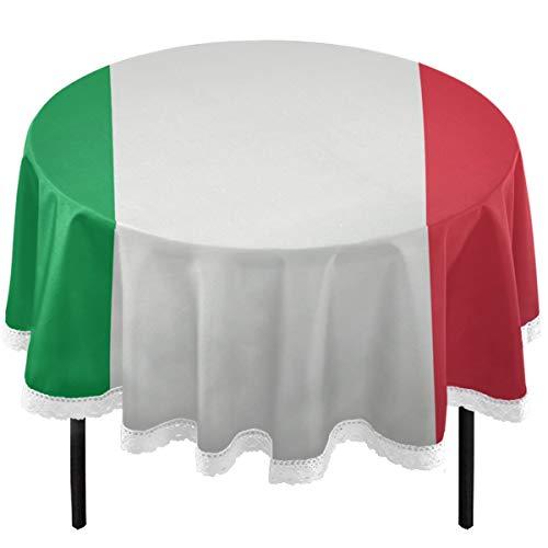 Oarencol - Mantel redondo de poliéster lavable con bandera italiana, color verde, blanco y rojo