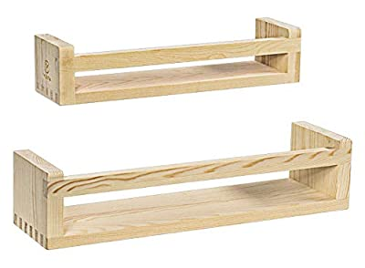 Y&ME YM Rustic Wood Floating Shelves Set of 2, Wood Wall Storage Shelves for Farmhouse Bathroom Decor, Kitchen Spice Rack, or Book Shelf Organizer for Baby Nursery Decor (Natural Wood)