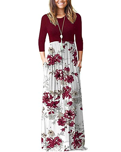 WNEEDU Women's 3/4 Sleeve Floral Printed Loose Plain Casual Long Maxi Dresses with Pockets (L, Red Flower White)