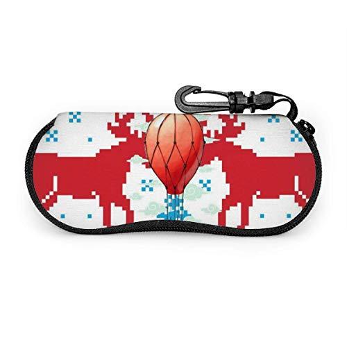 Carneg Gafas de sol feas de Elk navideño portátil con hebilla de bloqueo Bolso suave Funda de gafas con cremallera de tela de buceo ultraligera GLC-1682