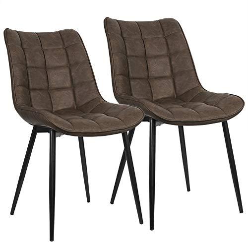 WOLTU® Esszimmerstühle BH207br-2 2er Set Küchenstuhl Polsterstuhl Wohnzimmerstuhl Sessel mit Rückenlehne, Sitzfläche aus Kunstleder, Metallbeine, Antiklederoptik, Braun