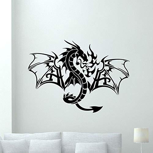 Etiqueta engomada del arte de la fantasía del dragón mítico chino decoración de la sala de estar animal vinilo calcomanía de la pared del dragón tribal etiqueta engomada de la pared del hogar 42x30