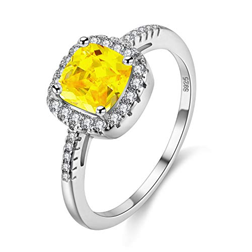 Uloveido Cushion Cut Lab Yellow Citrine Ring, November Birthstone Ring for Mothers, Square Graduation Ring for Girlfriend (Yellow, Size L) Y3100