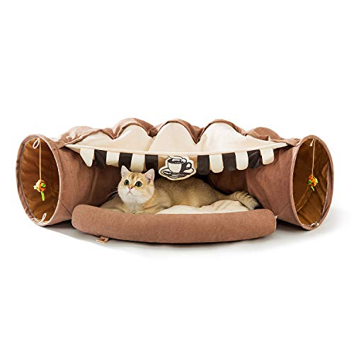 HIPIPET Cat Tunnel Bed Soft Warm Scratch-Resistant Cat Tunnels for Indoor Cats Tunnel Tube with Removable Washable Cushion(Light Brown)