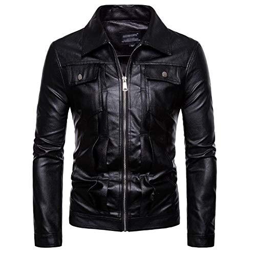 ClarenceOOD Herrenlederjacke Taschen Dekorative Lederjacke Waschmaschine Lederjacke Retro-Revers-Lederjacke (Color : Black, Size : XXL)