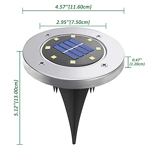 Solar Ground Lights, 8 Pack Solar Lights Outdoor, 8 LEDs Solar Garden Lights, in-Ground Disk Lights Waterproof Landscape Lighting for Lawn/Pathway/Yard/Driveway/Walkway/Sidewalk/Deck/Patio(Warm White)