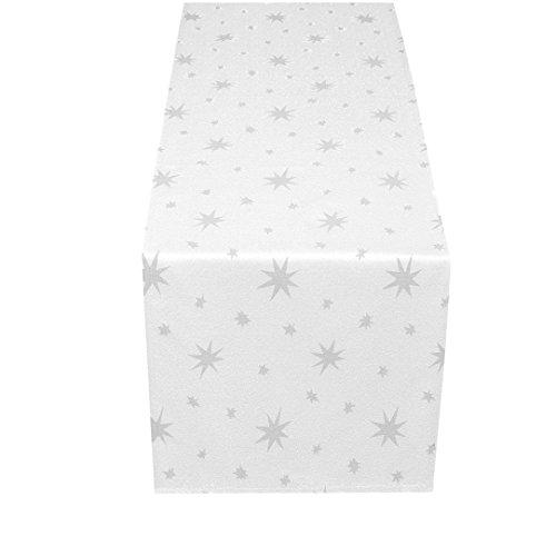 MODERNO Lurex Sterne Tischläufer 40x170 cm Weiss Silber, Weihnachtstischläufer Größe und Farbe wählbar (Gold, Silber oder Rot glänzend)
