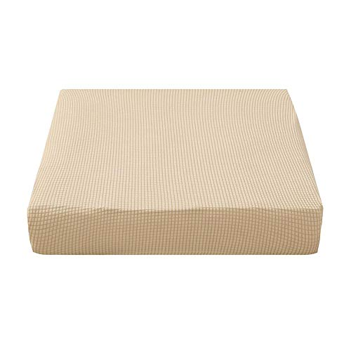 Prosperveil Stretch Sofa Seat Covers Polyester Spandex Fabric Chair Cushion Covers Futon Couch Cushion Covers Sofa Slipcover Protectors (Cream, Chair)