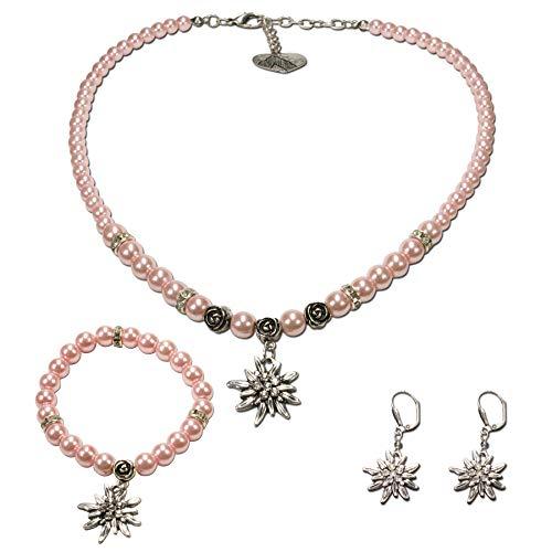 Alpenflüstern Trachtenschmuck-Set Perlen-Trachtenkette, Armband & Ohrhänger Strass-Edelweiß - Dirndl-Kette, Armkette, Ohrringe in traditionellen Farben SET024 (rosa-rosé)