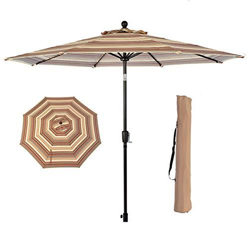 LCH 9 ft Outdoor Umbrella Patio Backyard Market Table Umbrella Sturdy Pole Push Button Easily Tilt Crank with Umbrella Cover (Lime Green)