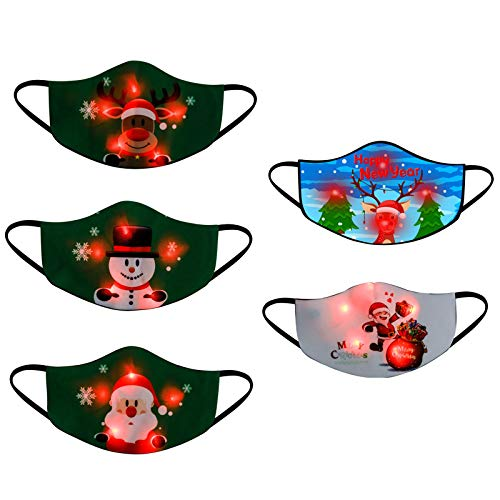 【Shiping from US!!!】 3/5PC Kids LED Christmas Face_Mask Light Up with 3/5PC Button Battery,Christmas Lights Glowing Face_Mask for Children,Christmas Theme Face_Mask for Party(Mixed Colors)