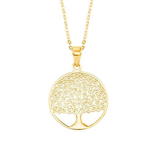 Amor Kette mit Anhänger für Damen, Gold 375, Lebensbaum