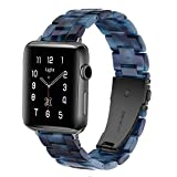 Correa ligera para Apple Watch – Pulsera de resina iWatch compatible con hebilla de acero inoxidable de cobre para Apple Watch Series 4 Series 3 Series 2 Series 1