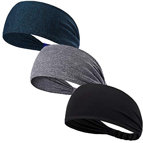 EIKOOSS Sport-Stirnband für Damen und Herren, 3 Stück, Schweißbänder für Laufen, Cross-Training, Wandern, Radfahren, Basketball, Fußball, Workout