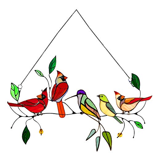 Multicolor Birds on a Wire High Stained Glass Suncatcher Window Panel, Bird Series Stained Sun Catcher Window Hanging Ornaments Pendant, Bird Painted Hanging Decoration Gifts for Birds Lover (E)