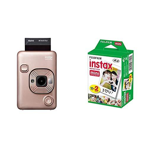 instax mini LiPlay, Blush Gold & FujiFilm Instax Mini Film (40Shots) Multi Pack