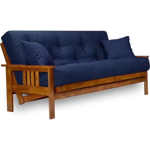 Nirvana Futons Stanford Futon Set - Full Size Futon Frame with Mattress Included (8 Inch Thick Mattress, Twill Navy Blue Color), Heavy Duty Wood, Popular Sofa Bed Choice
