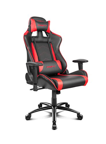 Drift DR150BR - Silla Gaming Profesional, polipiel, reposabrazos ajustable, piston clase 4, asiento basculable, altura regulable, respaldo reclinable, cojines lumbar y cervical, color negro/rojo