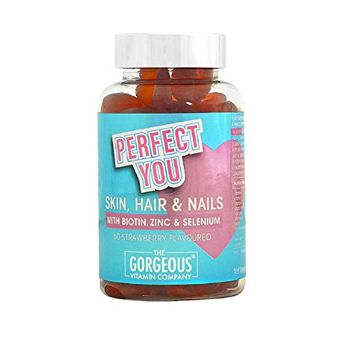 Chewable Strawberry Hair Gummy Vitamins – with Biotin, Zinc, Selenium & Vitamin C for Hair, Skin & Nails. Hair & Nail Growth - 1 Month Supply - 60 Gummies - by The Gorgeous Vitamin Company