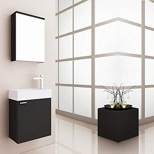 MIDI Badmöbel Set für Gäste WC mit Spiegelschrank, Weiß oder Schwarz, Waschtisch mit Waschbecken Mini schmal Bad Breite: 45 cm, Größe: Waschtisch + Spiegelschrank, Farbe: Schwarz