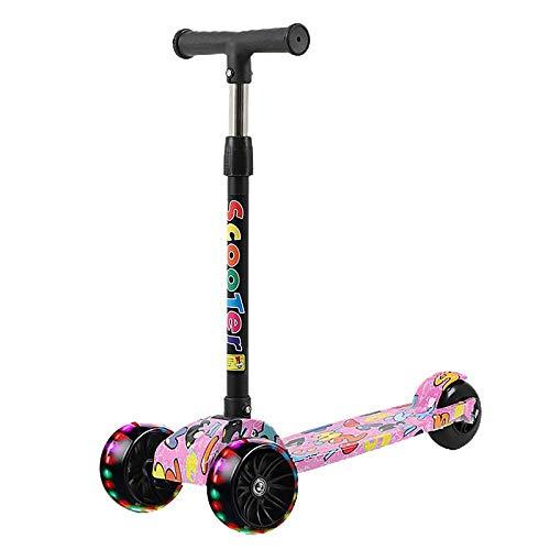 LABYSJ Patinete De 3 Ruedas para Niños, Scooter De Pie Plegables, Bicicleta De Equilibrio con Brillo LED, Patineta De Altura Ajustable, Patineta para Niños, Regalos, Juguetes,B