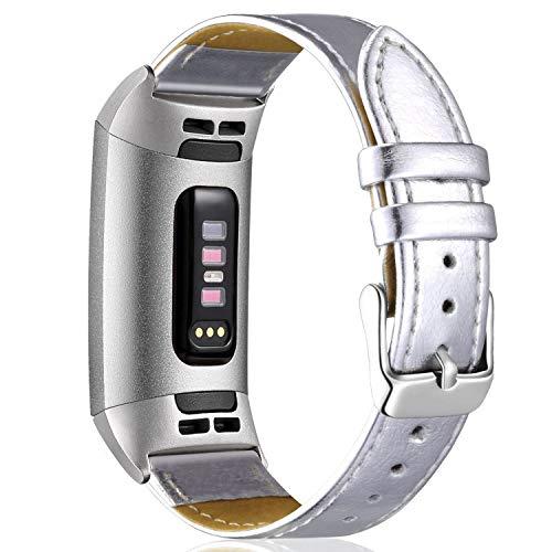 Aottom Armband Fitbit Charge 3 Leder,Lederarmband Fitbit Charge3 Armbänder Damen Ersatz Band Smartwatch Charge 3 Armband Fitness Tracker Zubehör mit mit Schließe für Fitbit Charge 3