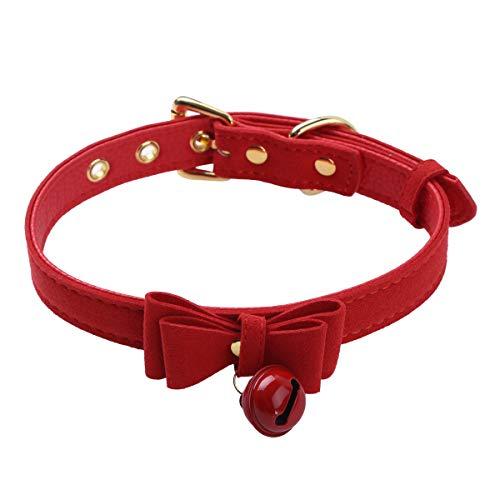 FEESHOW Frauen Leder Halsband Choker mit Glocke und Bowknot Katzen Maid Kostüm Halskette Steampunk Party Zubehör Verstellbar Rot One Size