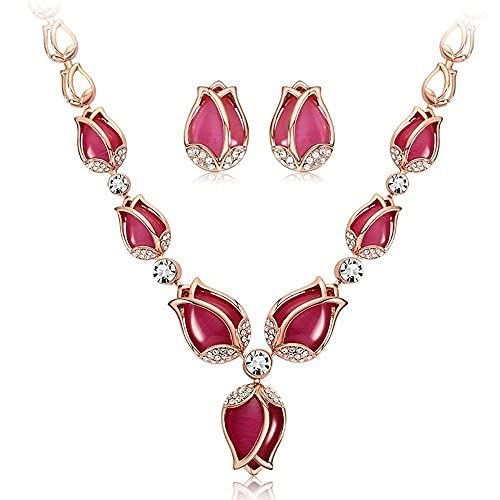 SataanReaper Presents Las Últimas Elegantes Rosas De Oro Tulipán Diseño Pendientes Collar De Joyería Conjunto para Mujeres#SR-4183