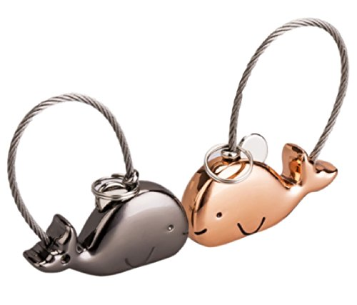 KLU ペア キーホルダー カップル お揃い キーリング 鍵 かわいい 動物 ブラック ピンクゴールド 2個セット (クジラ)