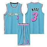Camiseta De Baloncesto para Hombre Miami Heat #3 Wade, Camiseta Sin Mangas Y Pantalones Cortos Unisex Baloncesto City Edition, Trajes De Competición Deportiva Aire Libre,Azul,M