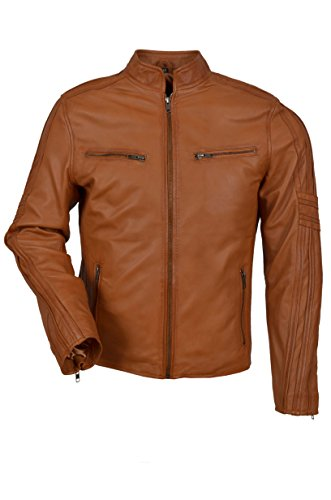 4924 Hommes Smart Tan Cool rétro Style Motard Moto Cuir Nappa Veste (UK 3XL / EU 58)