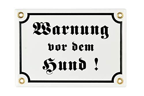 Sosenco Warnung vor dem Hund Schild – 12x17 cm - Keramik Emaille - Wetterfest – Hundewarnschild – Vorsicht Hund Schild – Emailleschild – Emailschild (Weiss)