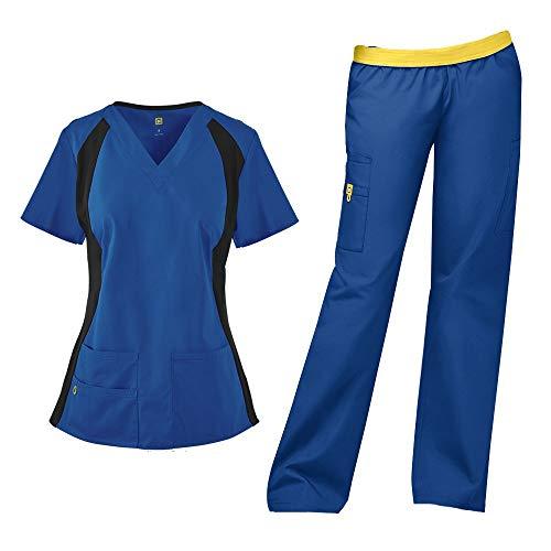 WonderWink Origins Women's Lima 5 Pocket V-Neck Top 6096 & Quebec Full Elastic Cargo Pants 5016 Scrub Set (Royal - XXX-Large/XXL Tall)