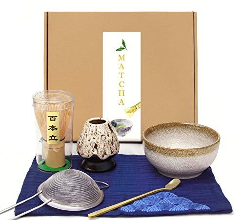 Japanese Matcha Set Matcha WhiskMatcha Stirrer 100 Prong Scoop Matcha Bowl Ceramic Whisk Holder Matcha Caddy Handmade Matcha Ceremony Kit For Traditional Japanese Tea Ceremony