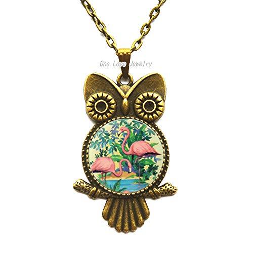 Ni36uo0qitian0ozaap Collar con colgante de búho de flamenco, elegante, flamencos, pájaros, regalo de boda, regalo de besos, collar de búho, collar de búho, collar TAP115