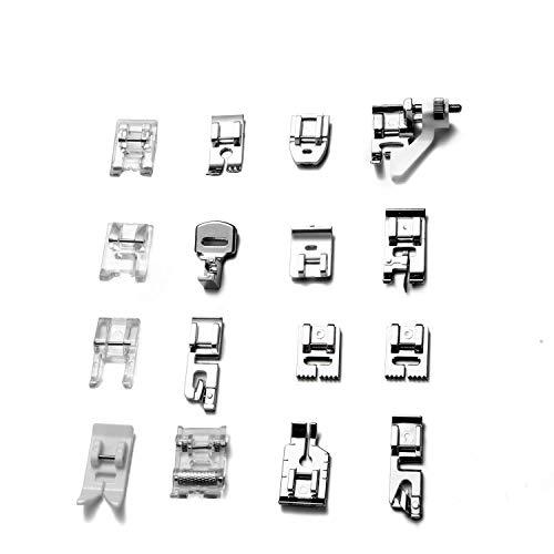 Prensatelas para máquinas de coser, 16 Piezas Multifuncional Pie de Maquina de Coser, Aplicar a Algunos Modelos de Muchas Marcas, para Brother, Singer, Toyota, Janome, Kenmore etc.