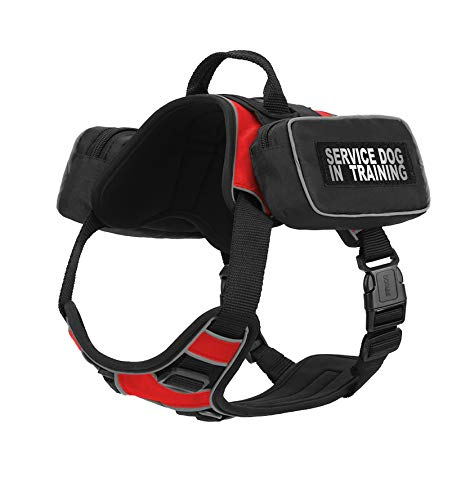 Dogline Quest No-Pull Dog Harness with Saddle Bag and Service Dog in Training Reflective Removable Patches Dog Vest with Quick Release Dual Buckles Black Hardware and Handle 32 to 40 in Red