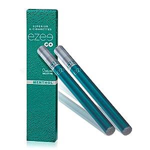 Ezee Go Cigarrillo Electrónico Desechable sabor a Mentol E-Cigarrillo Boquilla Suave 285 mAh Batería Sin Nicotina y sin Tabaco Paquete de 2