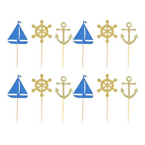 STOBOK 24pcs nautische Kuchendeckel Anker Segelboot Schiff Rad Kuchendeckel Cupcake Topper für nautische Strand Ozean Thema Geburtstag Hochzeit Baby Shower Party Dekorationen