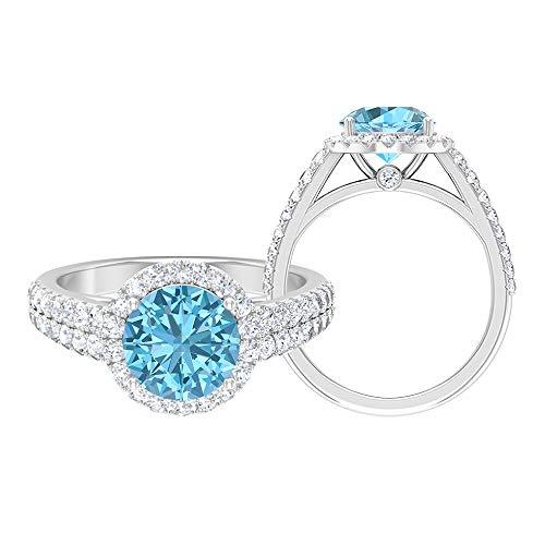 Anillo solitario de halo, 8,00 mm, anillo de aguamarina creado en laboratorio, D-VSSI, anillo de compromiso de piedra lateral, anillo de boda de oro (calidad AAAA), 14K Oro blanco, Size:EU 46