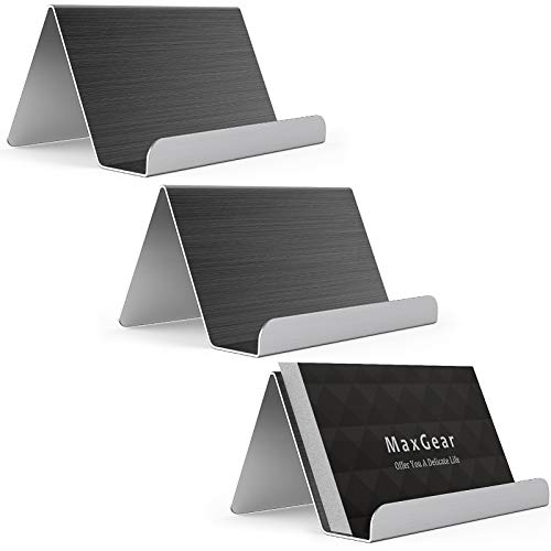 MaxGear Business Card Holder for Desk Business Card Display Holders Metal Business Cards Stand Desktop Name Card Organizer, Capacity: 50 Cards, 3 Pack, Black, Brushed Stainless Steel