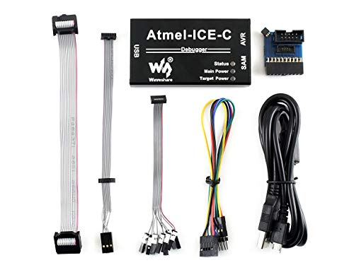 Waveshare Atmel-Ice-C Kit Powerful Development Tool for Debugging and Programming SAM AVR Microcontrollers Original PCBA Inside Full Functionality Cost Effective Durable Aluminium Alloy Enclosure