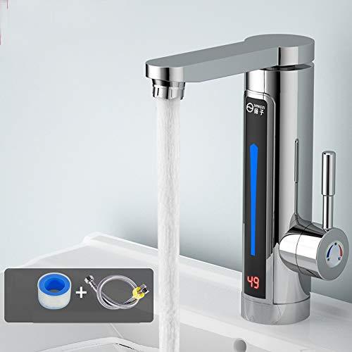 Grifos de agua eléctricos, 220 V calentador instantáneo eléctrico sin tanque de agua caliente grifo con pantalla digital LCD ajustable 360 grados giratorio Pulverizador para el hogar baño cocina