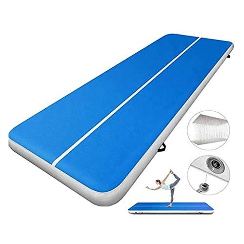 RPOLY Airtrack Gymnastikmatte, Gymnastik Tumbling Matten mit Elektrischer Luftpumpe für Gymnastik, Yoga, Training und Parkour zu Hause,Blue_300x200x20cm